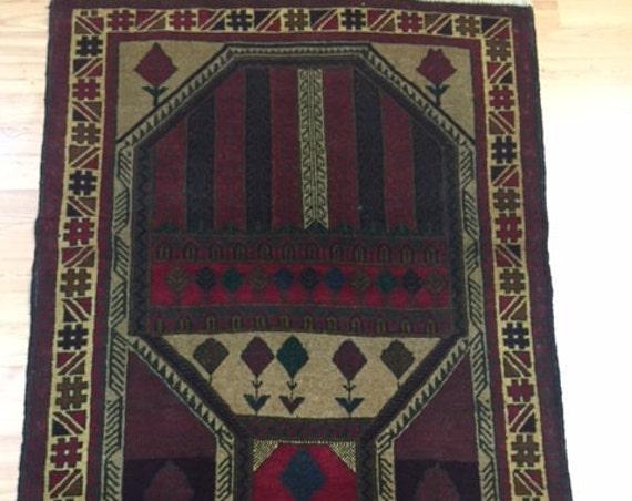 """2'11"""" x 4'9"""" Afghan Turkeman Oriental Rug - Hand Made - 100% Wool Pile"""