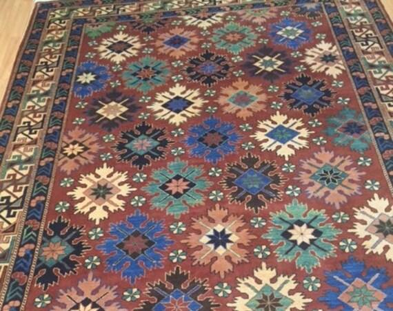 "6'8"" x 9'2"" Afghan Panel Design Oriental Rug - Hand Made - 100% Wool"