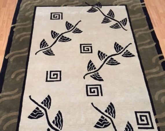 "6'2"" x 9'2"" Indian Nepal Oriental Rug - Hand Made - 100% Wool Pile"