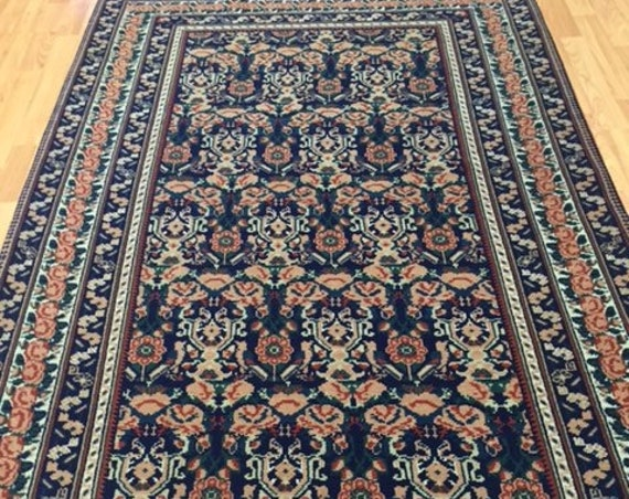 """4' x 6'6"""" Romanian Agra Oriental Rug - Hand Made - 100% Wool - Floral Design"""