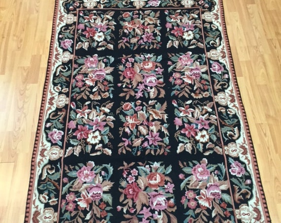 """3'6"""" x 5'6"""" Chinese Needle Point Oriental Rug - Hand Made - 100% Wool"""