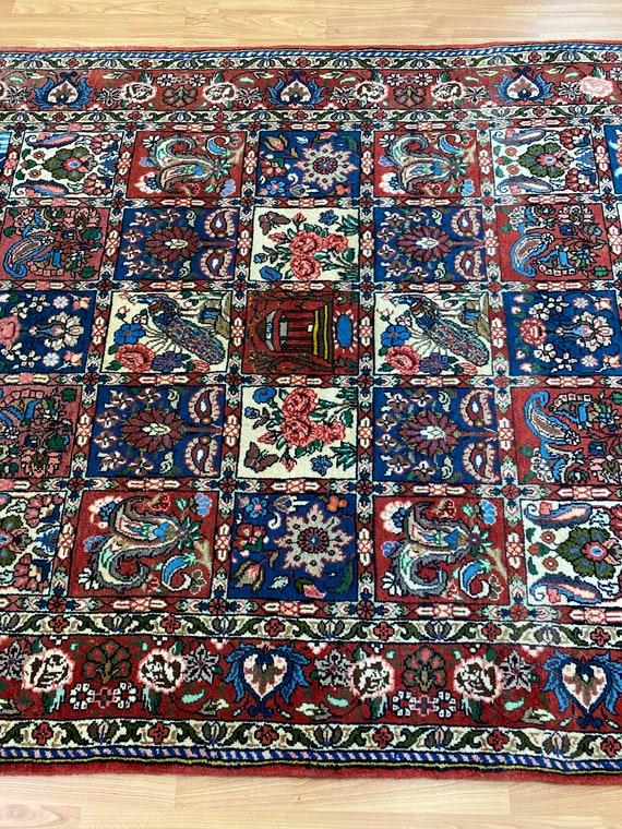 "4'1"" x 6'1"" New Indian Garden Design Oriental Rug - Hand Made - 100% Wool"