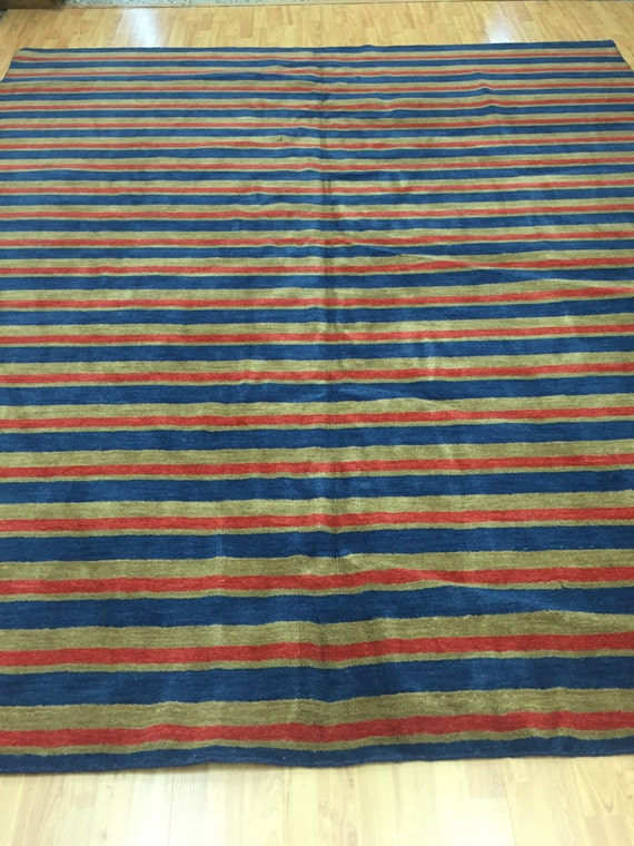 8'6 x 9'8 Indian Nepal Oriental Rug - Versace Stripes - Hand Made - 100% Wool