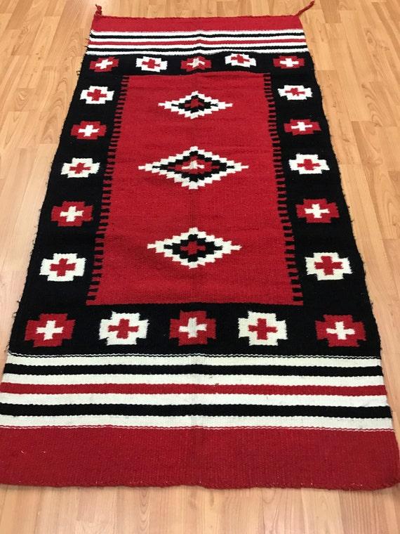 "2'5"" x 5' Native American Navajo Flat Weave Oriental Rug - Hand Made - 100% Wool"