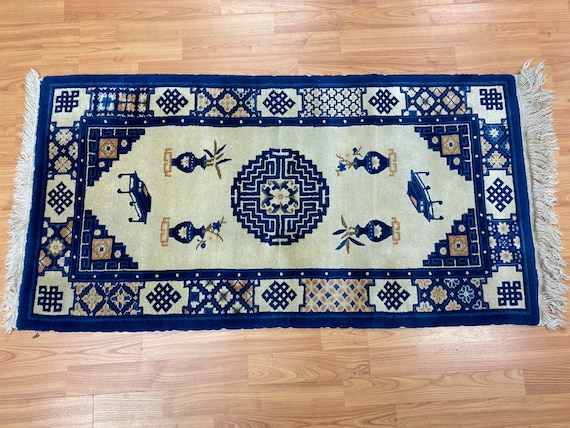 """2'1"""" x 4'1"""" Antique Chinese Aubusson Oriental Rug - 1930s - Hand Made - 100% Wool"""