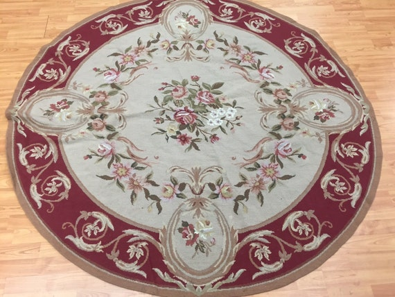 6' x 6' Round Chinese Aubusson Needle Point Oriental Rug - Hand Made - 100% Wool