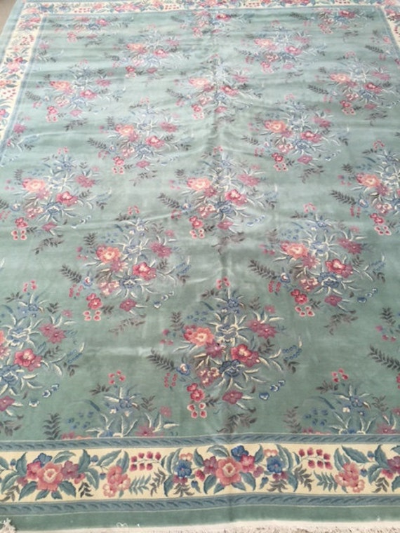 "12'2"" x 14'8"" Sino Chinese Oriental Rug - Wool & Silk - Hand Made - Full Pile"