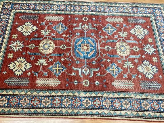 4' x 6' New Pakistani Kazak Oriental Rug - Hand Made - 100% Wool - Vegetable Dye