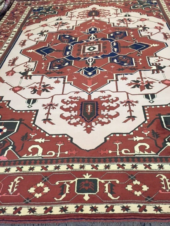 "8'8"" x 11'3"" Pakistani Heriz Design Oriental Rug - Hand Made - Very Fine - 100% Wool"