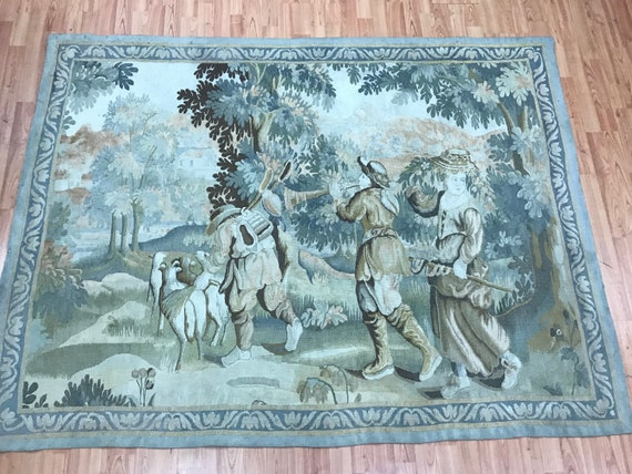"4'9"" x 6'4"" Antique French Hanging Tapestry - 1920s - Hand Made"