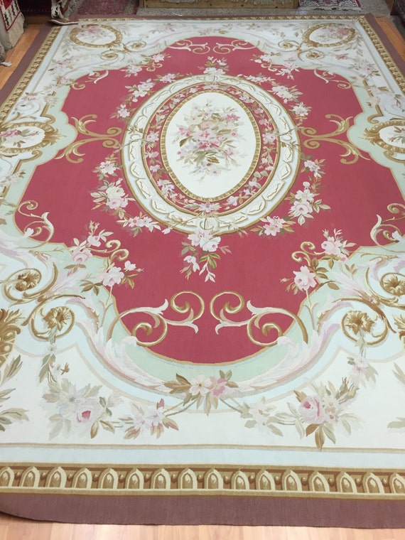 """9'9"""" x 14' French Aubusson Design Needle Point Oriental Rug - Hand Made - 100% Wool"""