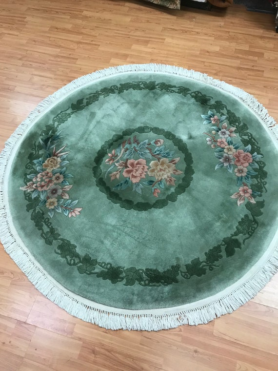 """5'1"""" x 5'1"""" Round Chinese Aubusson Oriental Rug - Hand Made - 100% Wool"""