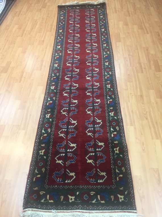 "2'5"" x 9'6"" Afghan Floor Runner Oriental Rug - Hand Made - 100% Wool"