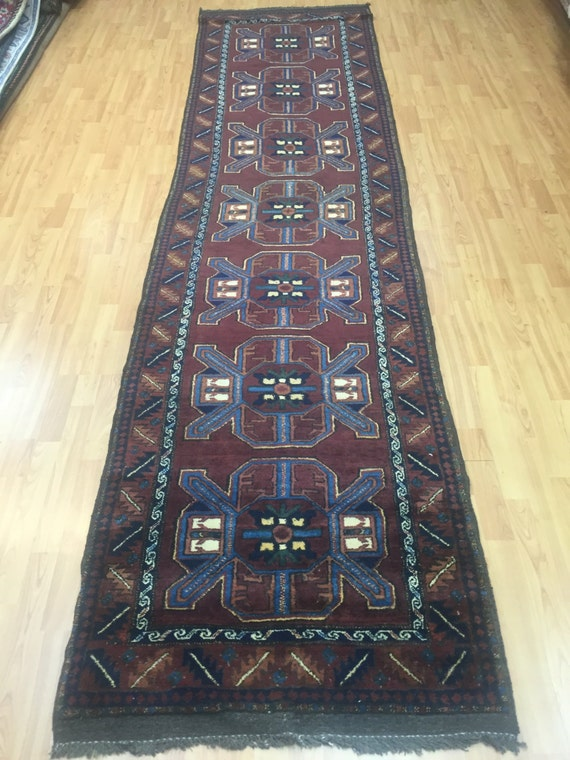 """2'9"""" x 11' Afghan Gharghaei Floor Runner Oriental Rug - 1980s - Hand Made - 100% Wool"""
