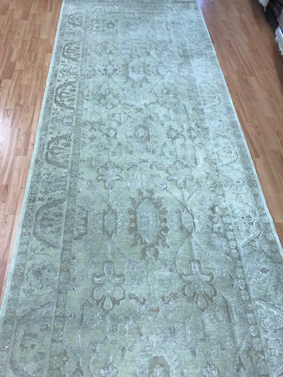 "4' x 15'6"" Indian Art Deco Floor Runner Oriental Rug - Hand Made - Wool and Silk"