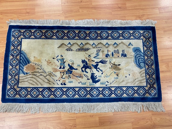 """2'1"""" x 4'1"""" Antique Chinese Aubusson Hunting Design Oriental Rug - 1930s - Hand Made - 100% Wool"""