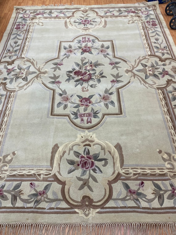 """8'1"""" x 10'6"""" Chinese Aubusson Oriental Rug - Tufted - Hand Made - 100% Wool"""
