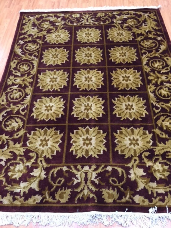 "4'9"" x 6'3"" Indian Nepal (Nepalese) Oriental Rug - Hand Made - 100% Wool"