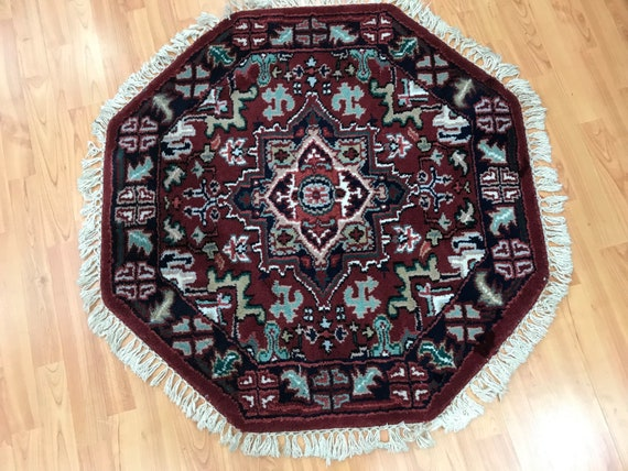 3' x 3' New Indian Heriz Design Oriental Rug - Hand Made - 100% Wool