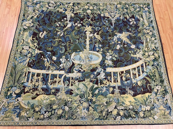 "4'5"" x 5'1"" Hanging French Tapestry - Fountain - Hand Made - 100% Wool"