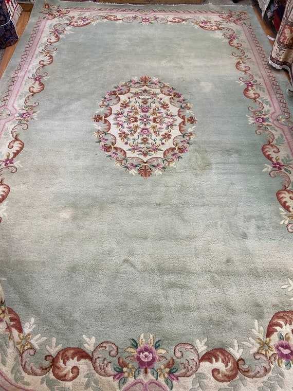 """9'10"""" x 15'9"""" Chinese Aubusson Oriental Rug - Full Pile - Hand Made - 100% Wool"""