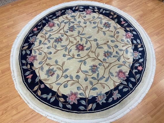"6'7"" x 6'7"" Round Chinese Art Deco Oriental Rug - Full Pile - Hand Made - 100% Wool"
