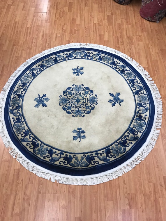 5' x 5' Round Chinese Aubusson Oriental Rug - Hand Made - 100% Wool