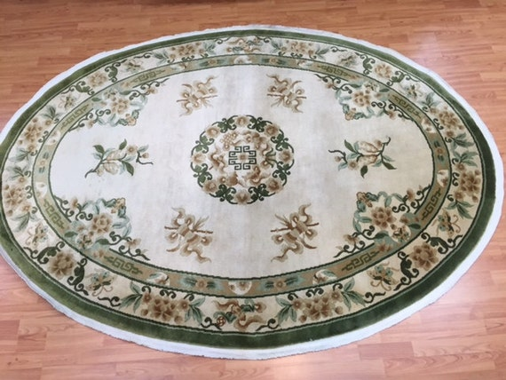 """5'10"""" x 8' Oval Chinese Art Deco Oriental Rug - Hand Made - 100% Wool - Full Pile - 1980 - Vintage"""