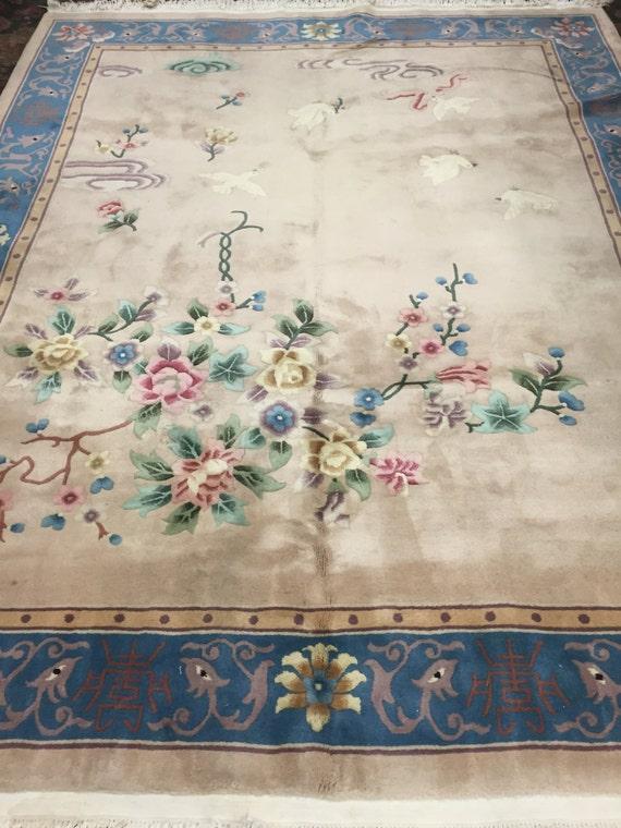 8' x 10' Chinese Art Deco Oriental Rug - Hand Made - Full Pile - 100% Wool