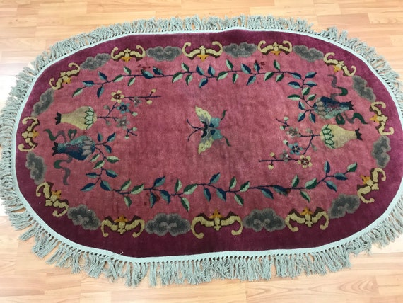 3' x 5' Antique Oval Chinese Art Deco Oriental Rug - 1920s - Hand Made 100% - Wool