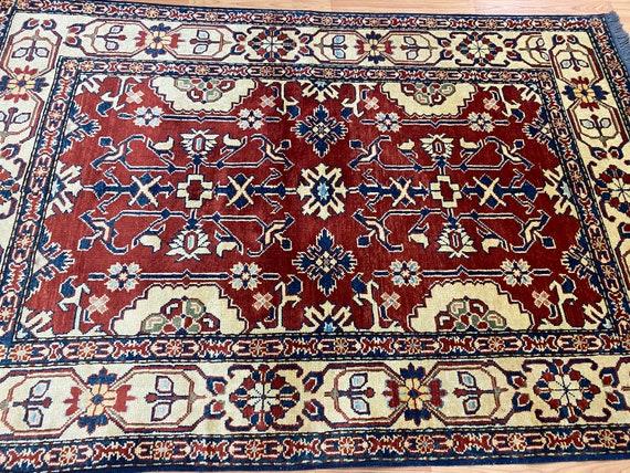 "3'10"" x 5'10"" New Pakistani Kazak Oriental Rug - Hand Made - 100% Wool - Vegetable Dye"