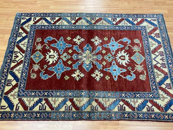 "3'10"" x 5'7"" New Pakistani Kazak Oriental Rug - Hand Made - 100% Wool - Vegetable Dye"