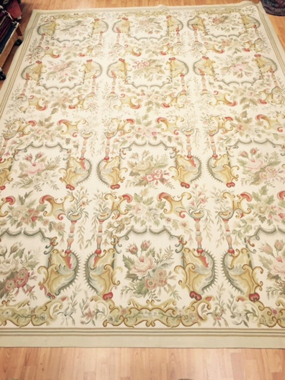 9' x 12' Chinese Aubusson Oriental Rug - Hand Made - 100% Wool - Vintage