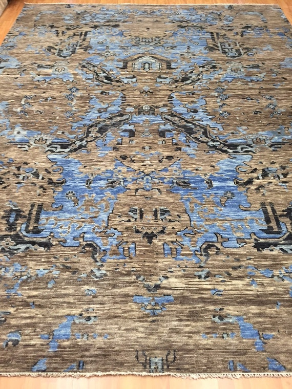 "8'10"" x 11'7"" Soft Melody Indian Oriental Rug - Modern - Hand Made - 100% Wool"