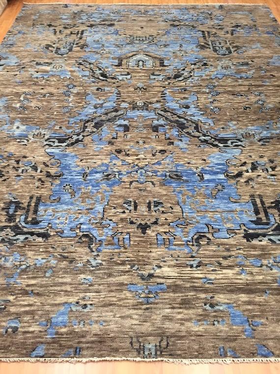 "8'10"" x 11'7"" Soft Melody Indian Oriental Rug - Modern - Hand Made - 100% Wool"