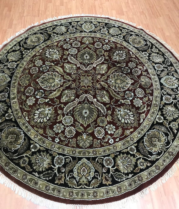 8' x 8' Round Indian Agra Oriental Rug - Full Pile - Hand Made - 100% Wool