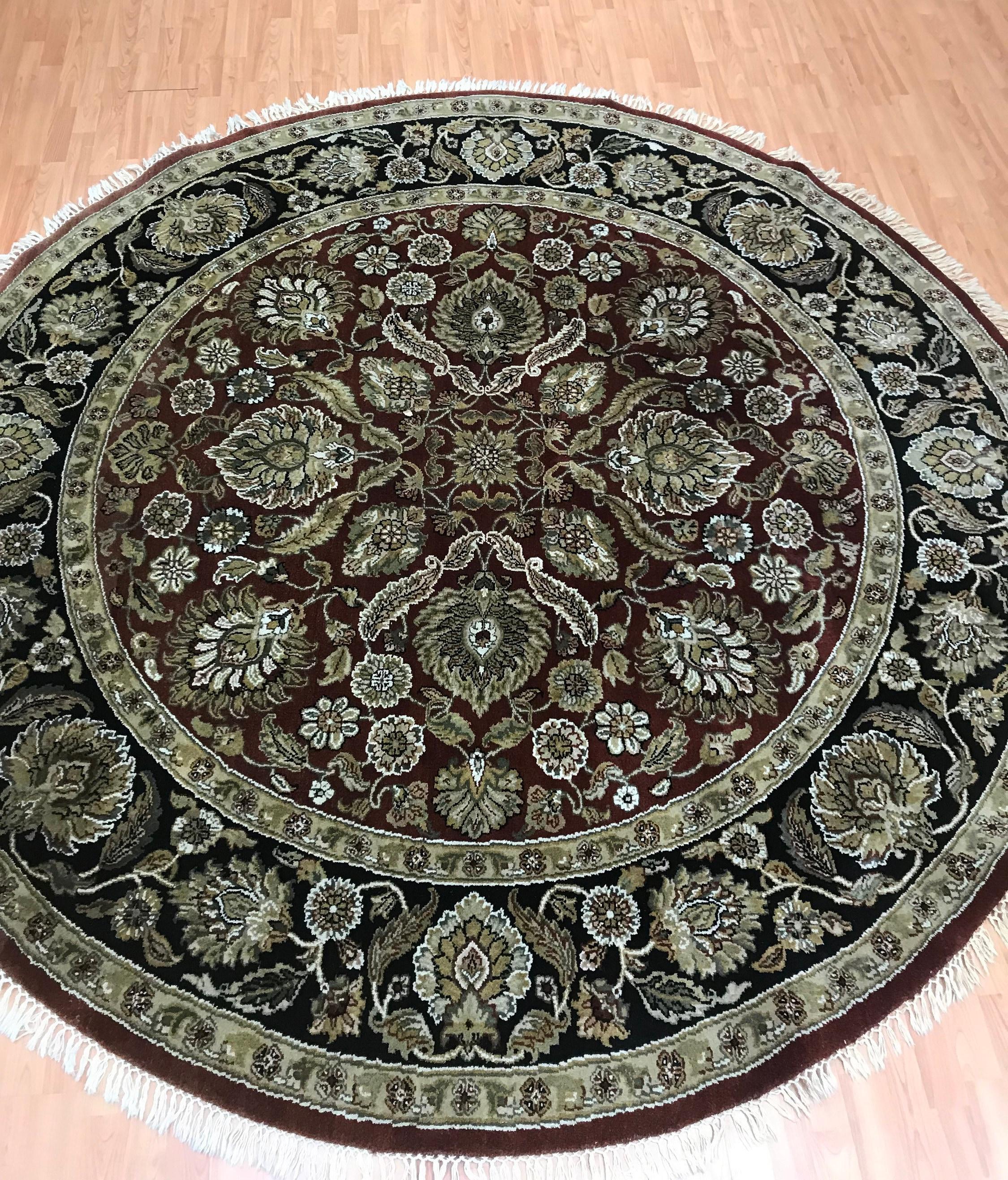 8' X 8' Round Indian Agra Oriental Rug