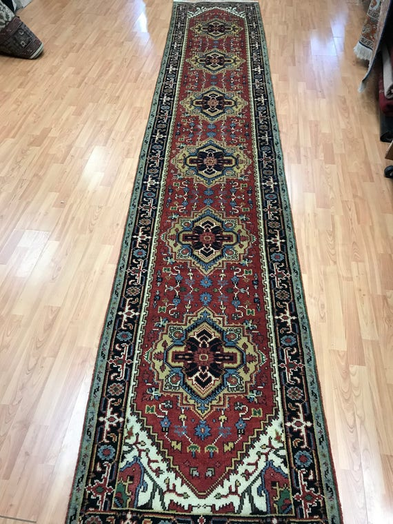 "2'8"" x 14'4"" Indian Heriz Floor Runner Oriental Rug - Hand Made - 100% Wool - Vegetable Dye"