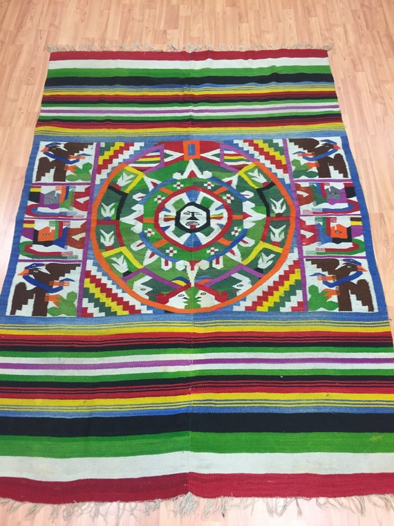 "4'8"" x 6'8"" Traditional Mexican Flat Weave Rug - 1960s - Hand Made - 100% Wool"