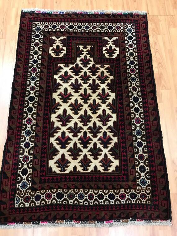 """3' x 4'4"""" Afghan Turkeman Oriental Rug - Hand Made - 100% Wool Pile"""