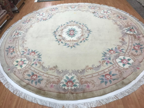 9' x 9' Round Chinese Aubusson Oriental Rug - Hand Made - 100% Wool