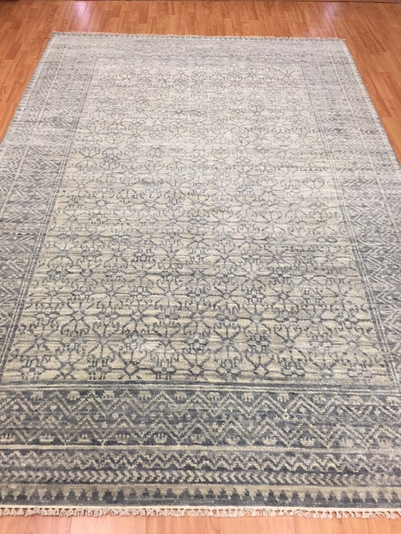 6' x 9' Soft Melody Indian Oriental Rug - Modern - Hand Made - 100% Wool