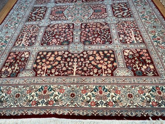 9' x 12' New Sino Chinese Oriental Rug - Wool & Silk - Burgundy - Hand Made