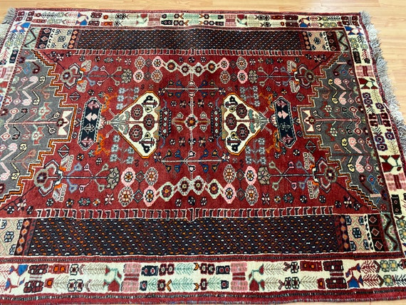"4' x 5'2"" New Tribal Turkeman Oriental Rug - Hand Made - 100% Wool Pile"
