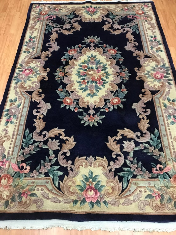 5' x 8' Chinese Aubusson Oriental Rug - Dark Blue - Hand Made - 100% Wool
