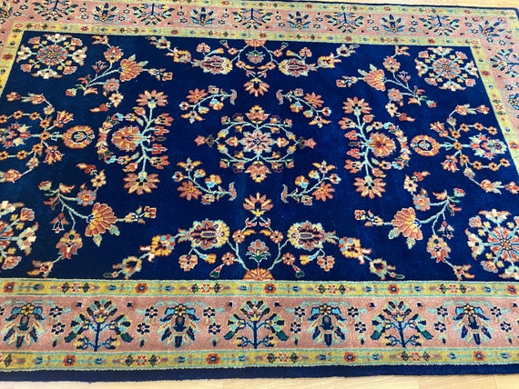 "4'1"" x 6'3"" Indian Sa Rouk Oriental Rug - Full Pile - Hand Made - 100% Wool"