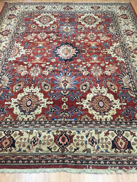 "9'3"" x 11'6"" Pakistani Peshawar Serapi Design Oriental Rug - Hand Made - Vegetable Dye - 100% Wool"