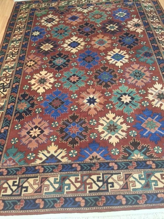 "6'8"" x 9'2"" Afghan Panel Design Oriental Rug - Hand Made - 100% Wool"