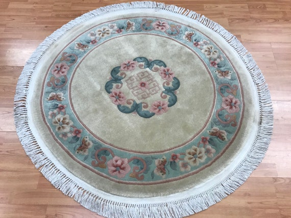 """3'8"""" x 3'8"""" Round Chinese Aubusson Oriental Rug - Hand Made - 100% Wool"""