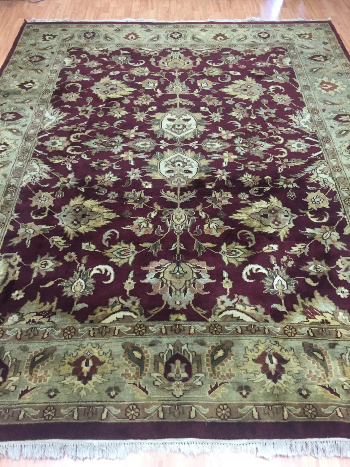 8 X 10 Indian Agra Oriental Rug Full Pile Hand Made 100 Wool